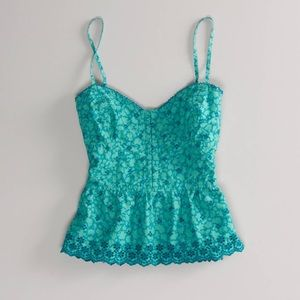 American Eagle Eyelet Corset Top Green Size Small